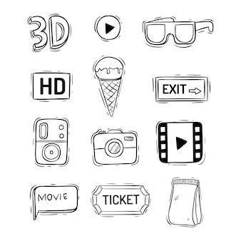Collezione di elementi di film o cinema carino con stile doodle