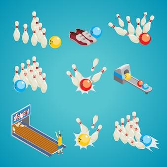 Collezione di elementi di gioco di bowling isometrica