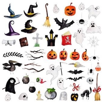 Collezione di elementi di halloween ad acquerello