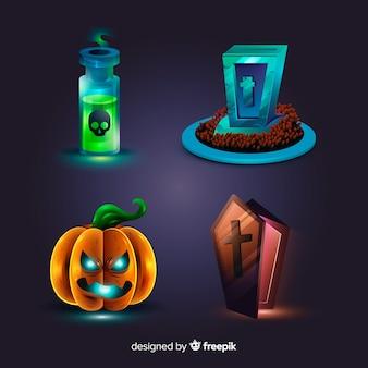 Collezione di elementi di halloween del fumetto realistico