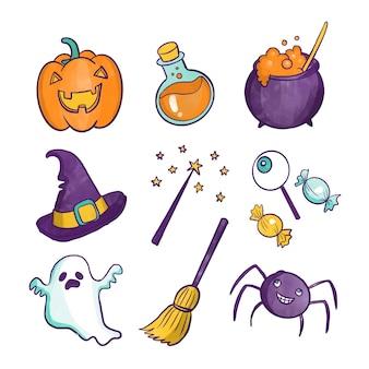 Collezione di elementi di halloween di disegno ad acquerello