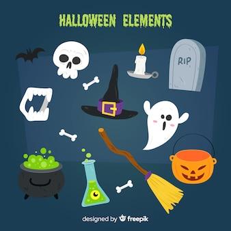 Collezione di elementi di halloween disegnata a mano colorata