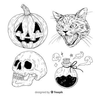 Collezione di elementi di halloween disegnata a mano realistica