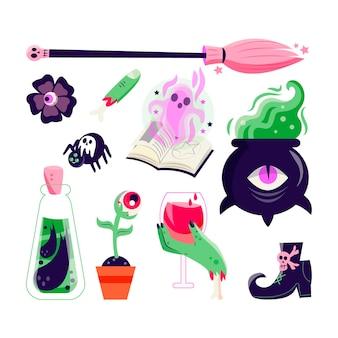 Collezione di elementi di halloween disegnati