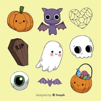 Collezione di elementi di halloween disegnato a mano classico