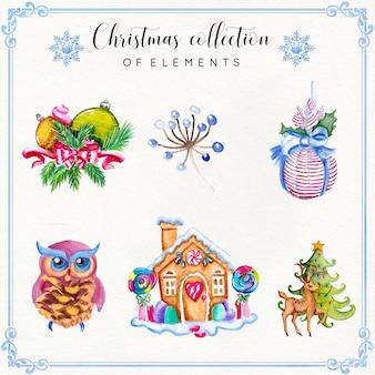 Collezione di elementi di Natale dell'acquerello