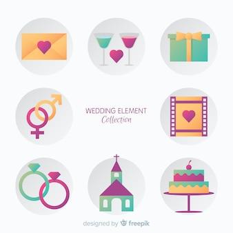 Collezione di elementi di nozze piatte