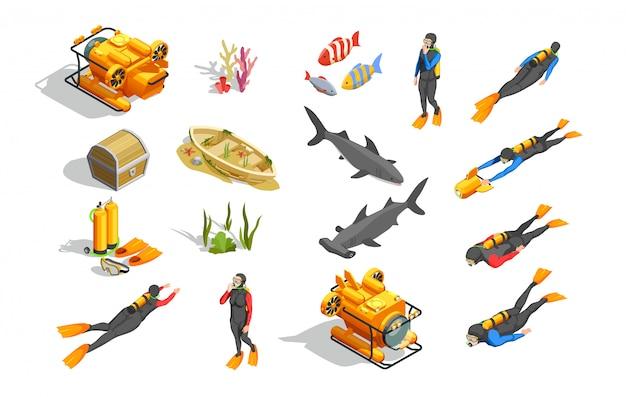 Collezione di elementi di nuoto subacqueo