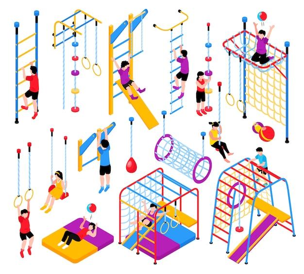 Collezione di elementi di parco giochi isometrico