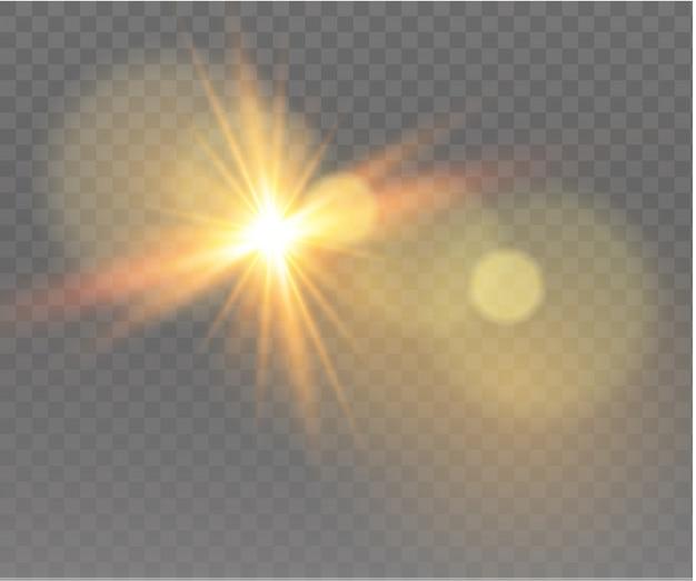 Collezione di elementi di riflesso lente realistica. design trasparente effetto luce. la luce incandescente gialla esplode.