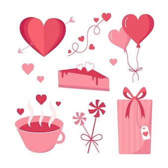 Collezione di elementi di san valentino carino disegnato a mano