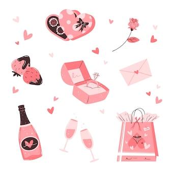Collezione di elementi di san valentino disegnati a mano