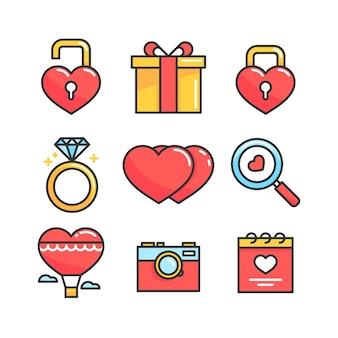 Collezione di elementi di san valentino