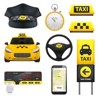 Collezione di elementi di segno di taxi