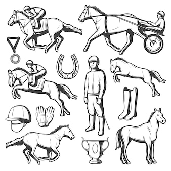 Collezione di elementi di sport equestri vintage