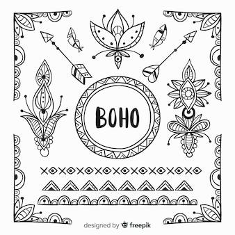 Collezione di elementi di stile boho disegnati a mano