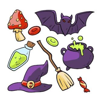 Collezione di elementi disegnati di halloween