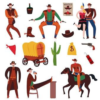 Collezione di elementi e personaggi del selvaggio west