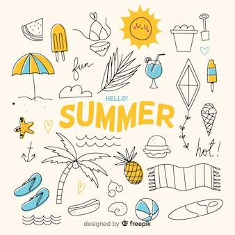 Collezione di elementi estivi disegnati a mano
