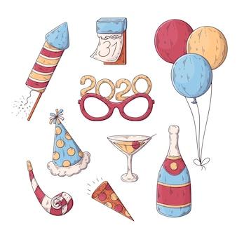 Collezione di elementi festa di capodanno disegnati a mano