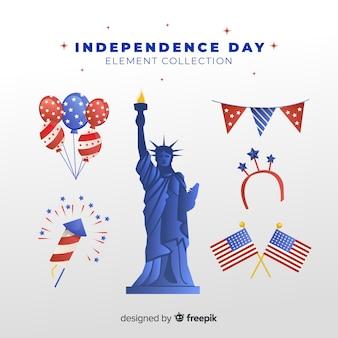 Collezione di elementi flat independence day
