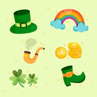 Collezione di elementi giorno di san patrizio con arcobaleno e monete