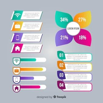 Collezione di elementi gradiente infografica