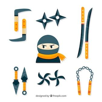 Collezione di elementi guerrieri ninja con design piatto