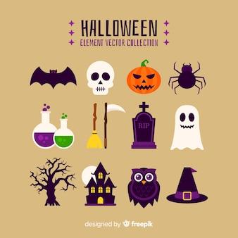 Collezione di elementi halloween colorato con design piatto