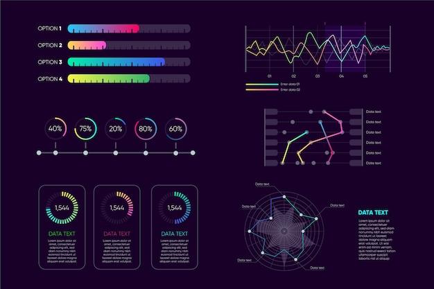 Collezione di elementi infografica cruscotto