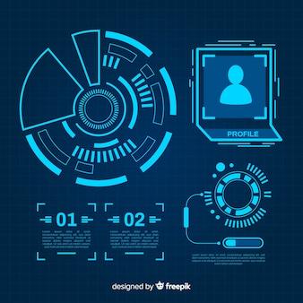 Collezione di elementi infographic blu futuristico