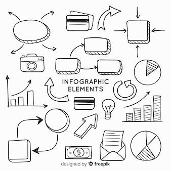 Collezione di elementi infographic disegnata a mano