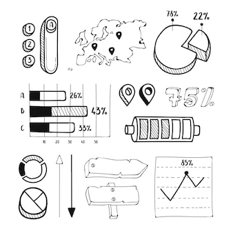 Collezione di elementi infographic disegnati a mano