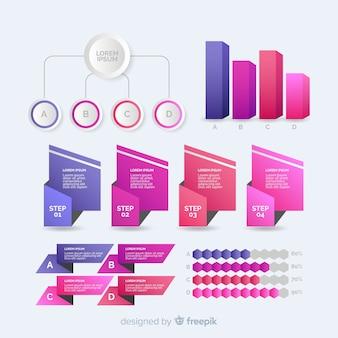 Collezione di elementi infographic gradiente