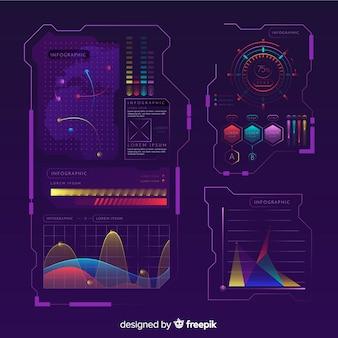 Collezione di elementi infographic ologramma futuristico