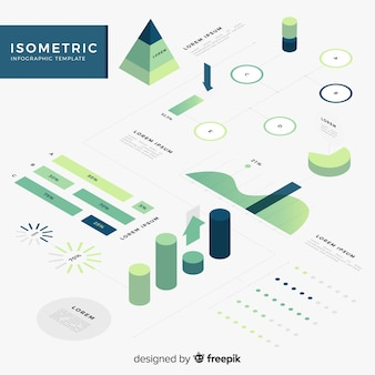 Collezione di elementi isometrici infografica