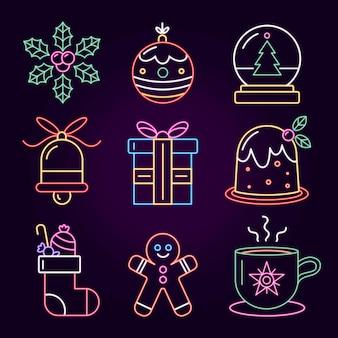 Collezione di elementi natalizi al neon