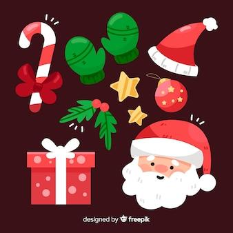 Collezione di elementi natalizi con babbo natale