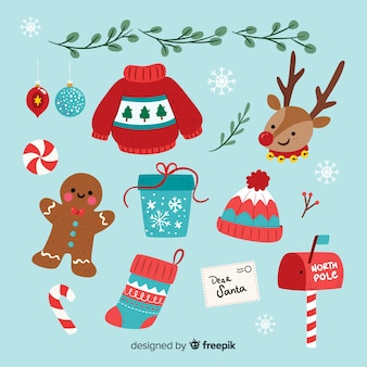 Collezione di elementi natalizi design piatto