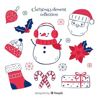 Collezione di elementi natalizi disegnati a mano