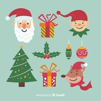 Collezione di elementi natalizi in design piatto