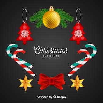 Collezione di elementi natalizi in stile realistico