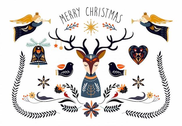 Collezione di elementi natalizi in stile scandinavo