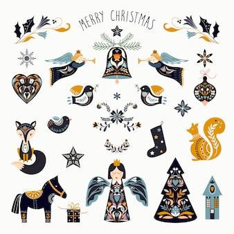 Collezione di elementi natalizi scandinavi