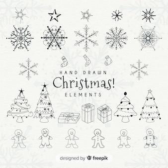 Collezione di elementi natalizi