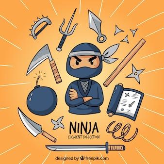 Collezione di elementi ninja disegnati a mano tradizionali