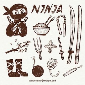 Collezione di elementi ninja disegnati a mano