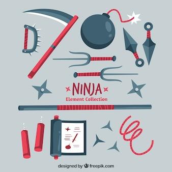 Collezione di elementi ninja in design piatto