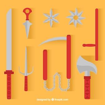 Collezione di elementi ninja tradizionali con design piatto