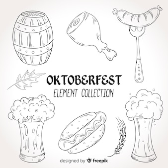 Collezione di elementi oktoberfest disegnati a mano